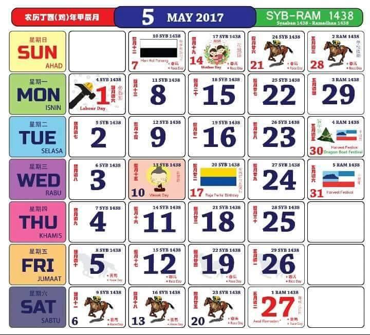 Malaysa Singapore Calendars