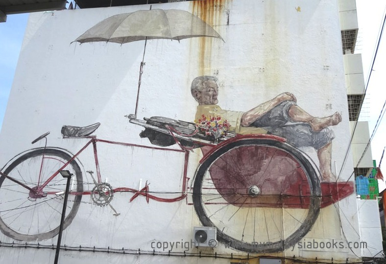 Awaiting Trishaw Paddler by Street Art by Ernest Zacharevic; mypenang.my
